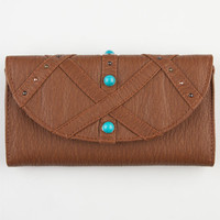 Turquoise Stone Washed Wallet Cognac One Size For Women 23505640901