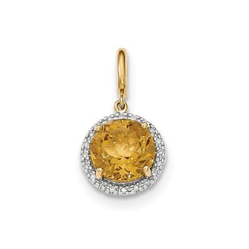 0.1 Ct  14k Yellow Gold Citrine W/diamond Halo Pendant