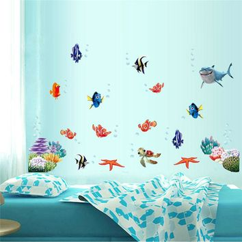3d movie stickers finding nemo wall decals nursery removable mural art cartoon diy colorful sea fish print pvc poster paper 617.