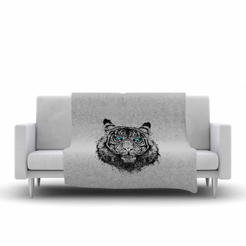 "BarmalisiRTB ""TIger Gaze"" Black Gray Fleece Throw Blanket"