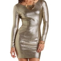 Metallic Bodycon Dress by Charlotte Russe - Gold Metallic