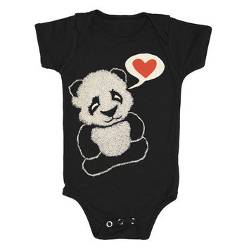 Panda Bear  Baby One Piece Bodysuit Romper by GnomEnterprises
