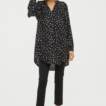 V-neck Dress - Dark blue/floral - Ladies | H&M US