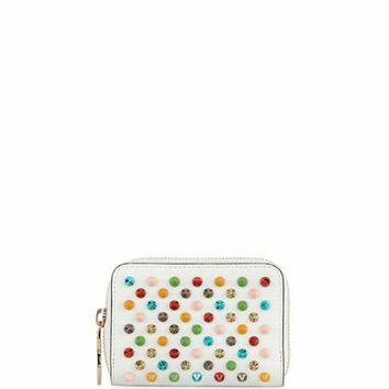 Christian Louboutin Panettone Spiked Coin Purse, White/Multi