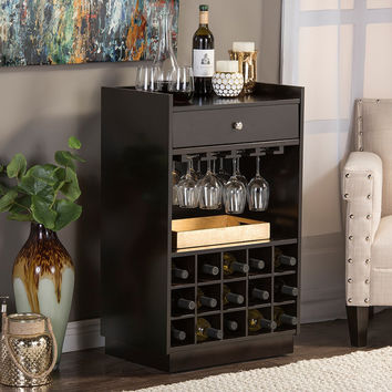 Baxton Studio Oscar Contemporary Dark Brown Wood Dry Bar And Wine Cabinet |  Overstock.com