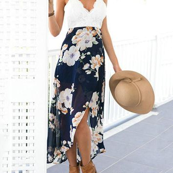 Casual Boho Fashion V neck Open Back Asymmetric Dress