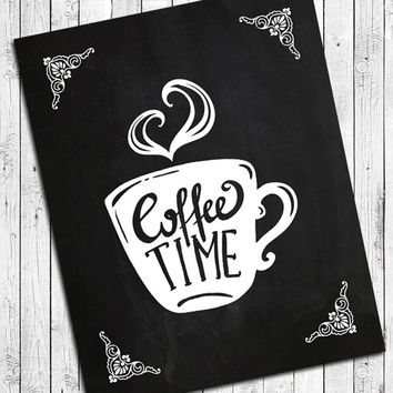 Coffee Time 8x10 Kitchen Wall Art Decor Print, 5 designs to choose from