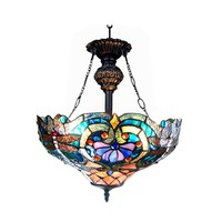 """LYDIATiffany-style 2 Light Victorian Inverted Ceiling Pendant Fixture 17"""" Shade"""