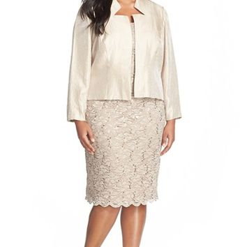 Plus Size Women's Alex Evenings Beaded Lace Sheath Dress & Jacket .,
