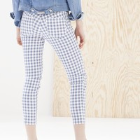 Gingham check ankle grazer trousers - TROUSERS - Stradivarius United Kingdom
