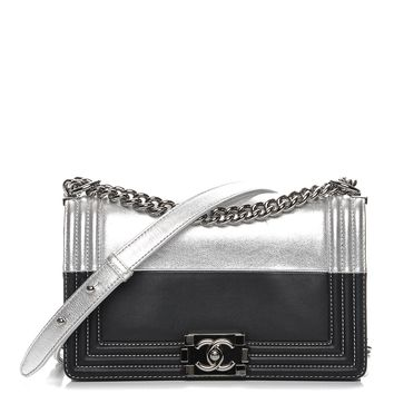 CHANEL Metallic Goatskin Calfskin Medium Boy Flap Silver Black