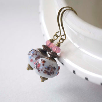 Pastel Earrings, Lampwork Glass Jewelry, Glass Bead Earrings, Pink Earrings