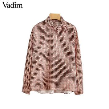 Vadim women geometric pattern blouse bow tie collar long sleeve back buttons shirts female casual streetwear tops blusas LA285
