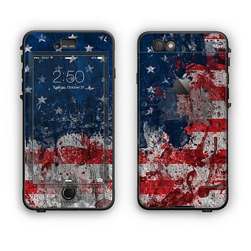 The Grungy American Flag Apple iPhone 6 LifeProof Nuud Case Skin Set