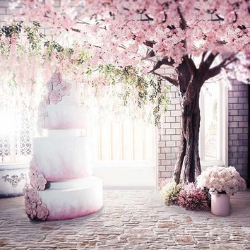 Vinyl Photography Background Computed Printed Vintage Castle Pink Cake Wedding Backdrops for Photo Studio CM-6935