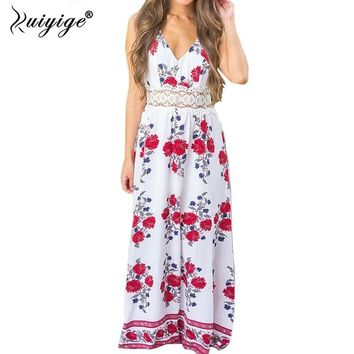 Ruiyige Summer Women Floral Print Dress Strappy Backless Maxi Dresses V Neck Crochet Peplum Hollow Out Camis Strap Dress Vestido