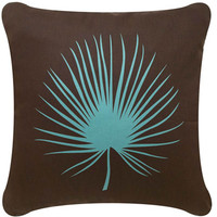 Palm Frond Decorative Modern Square Throw Pillow (Brown)