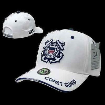 US Military Coast Guard White Baseball Cap Ball Hat-Armed Forces Rapid Dominance