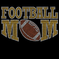 Gold/Yellow Football mom iron on hot fix rhinestone bling transfer - DIY football mom motif appliqué for t-shirts - free heat pressing