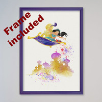 Princess Jasmine Aladdin Magic Carpet Poster Watercolor print Disney Castle Illustration Kids Nursery Art Aladin Flying Carpet FRAMED