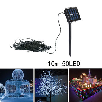 10M 50LED Solar String Fairy White Light Party Xmas Outdoor Garden Lawn Yard Tree Decoration Lamp With ON/OFF, MODE Switches