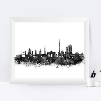 Berlin print Watercolor Map Black and White Berlin Skyline Cityscape Office Decor Berlin Skyline Wall Hanging Germany Print