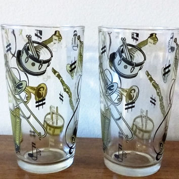 Hazel Atlas Musical Instrument Glasses, Music Drinking Glasses, Hazel Atlas Cold Painted Vintage Juice Glasses, Mid Century Glasses