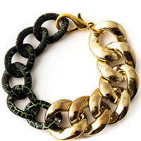 *MKL Accessories The Two Tone Chain Bracelet in Gold and Green : Karmaloop.com - Global Concrete Culture