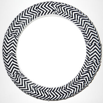 White/Black Chevron Steering Wheel Cover,Handmade in USA,Girly Car Accessory, Cute Girly Car Wheel Cover