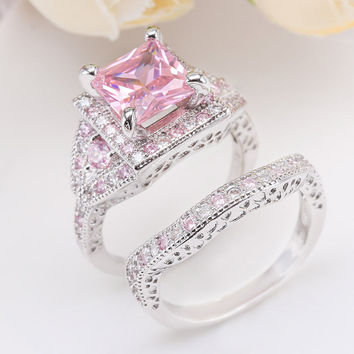 Princess Cut Pink Sapphire Sterling Silver Ring Set