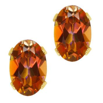 1.10 Ct Oval Shape Ecstasy Mystic Topaz Yellow Gold Plated Silver Stud Earrings
