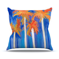 "Rosie Brown ""Florida Autumn"" Blue Orange Throw Pillow"