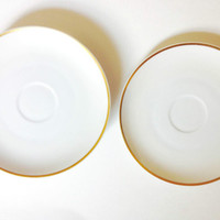 Set of 4 Hutschenreuther Selb Bavarian China Plates, White and Gold Porcelain Tea Set Saucers, Teacup Snack Plate, Selb Bavaria Plate