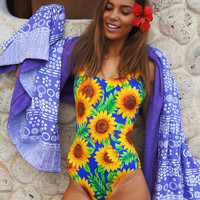 Sunflower Print Open Back One Piece Monokini