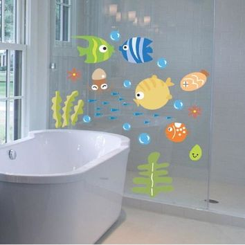 Hoomall 1Set Wall Stickers For Kids Rooms Cartoon Fish Pattern Sticker For Bathroom Removable Vinyl Nursery Kids Room Decals