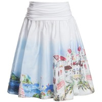 Printed Mid-Length Cotton Skirt