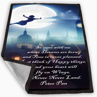 Peter Pan Inspired Quote Flying Moonlight Blanket for Kids Blanket, Fleece Blanket Cute and Awesome Blanket for your bedding, Blanket fleece **