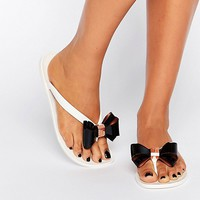 Ted Baker Rafeek Bow Cream Flip Flops at asos.com