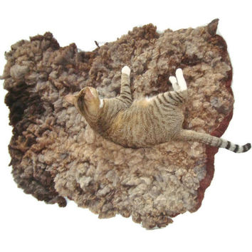 Felted Wool Cat Bed - Cruelty Free Fleece Pet Rug - Clun Forest - Not a SheepSkin - Supporting US Small Farms