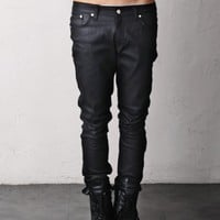 Dry Black Coated Stretch Skinny Rigid Denim Jeans