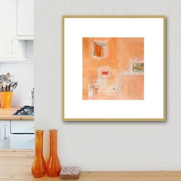 "Abstract Acrylic Painting Original Fine Art 7.5"" x 7.5"" by Linnea Heide - colorful fun whimsical - orange peach"
