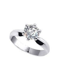 czRound-7 925 Sterling Silver Cubic Zirconia Round Brilliant Cut 3mm Solitaire Ring