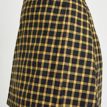 Urban Renewal Vintage Remnants Checked Wrap Skirt | Urban Outfitters