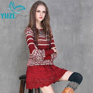 Autumn Dress 2017 Yuzi.may Boho New Cotton Knitting Vestidos Lantern Sleeve O-Neck Loose A-Line Pleated Dresses A6551 Vestido