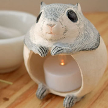 09.Flying squirrel  LED tealight holder/momonga/squirrel/led candle/animal sculpture/chubby/rustic