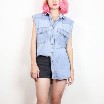 Vintage 90s Chambray Shirt Sleeveless Collared Snap Button Denim Shirt 1990s Soft Grunge Faded Worn Hipster Blue Jean Top L Extra Large XL