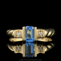 Emerald Cut Blue Topaz Ring w/ Diamond Accents Twisted Mounting 14K Yellow Gold