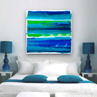 "Large Abstract Acrylic Painting Original Fine Art 36""x36"" by Linnea Heide - blue green stripes - ombre - modern art"