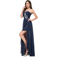 Navy Blue Strapless Formal Party Gown