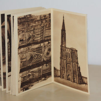 1900. Antique Postcard book of Strasbourg's cathedral // French vintage accessories